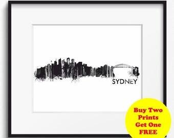 Sydney Skyline Watercolor, Black and White Art Print (724) Sydney Cityscape,Sydney, Australia Art Print, Sydney Poster, Sydney Art Print