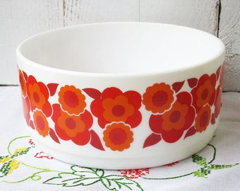Vintage Arcopal serving bowl, retro bowl, Lotus flower red and orange
