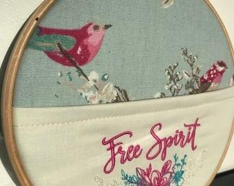 Free spirit in the hoop embroidery, pocket hoop embroider, hooped embroidery, desk tidy, wall art.
