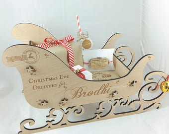 Personalised Wooden Christmas Eve Box, Christmas Eve Sleigh, Wooden Sleigh