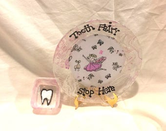 "Tooth Fairy Plate and Container Personalized 7"" Hand Painted Plate Dish"