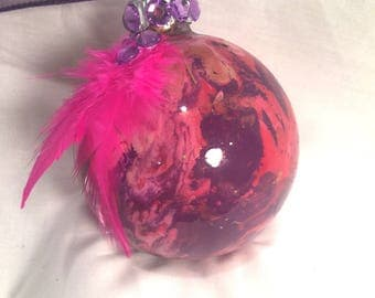 Inside Swirl Marble Painted Glass Ornament Pink Purple Gold Hand Painted Rhinestones Feathers