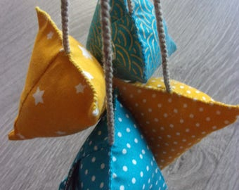 """Cyclades"" berlingots deco collection. Set of 4 stuffed. Summer colors turquoise and yellow."