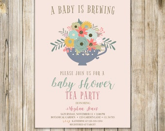 A BABY Is BREWING Party Invitation, COFFEE Baby Shower Invite, Coffee for Two Invites, High Tea Shower, Sip N See Open House, Meet and Greet