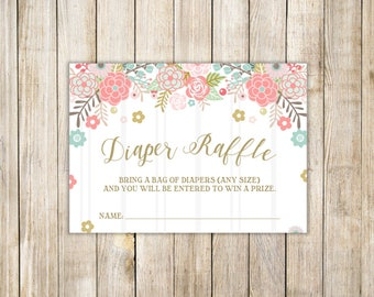 FLORAL DIAPER RAFFLE Card, Rustic Pink Floral Raffle Tickets, Baby Girl Shower, Invitation Enclosure, Printable Insert, Instant Download