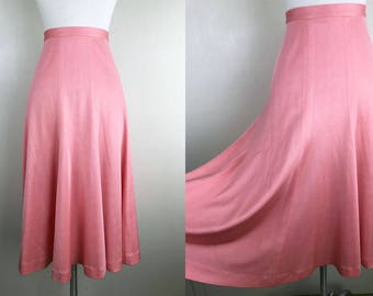 1970s Coral Orange Pink Peach Flowy Tulip Skirt // 70s Twirl Midi Skirt