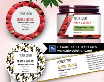 Jar Label, Label Template, Cream Label Template,Custom Label, Product Label,