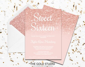 Rose Gold Sweet Sixteen Invitation | Peach Gold Glitter Sweet 16 Invitation | Glamorous modern 16th Birthday Party invite | FREE SHIPPING
