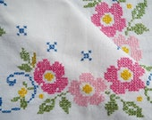 Vintage Linen Square Tablecloth, hand embroidered. Small white tablecloth with cross stitched wild pink roses. Great for a tea party