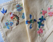 Vintage linen tea tray cloth. Rare 1950s English yellow linen tray cloth with hand embroidered birds and flowers. Perfect for a tea party
