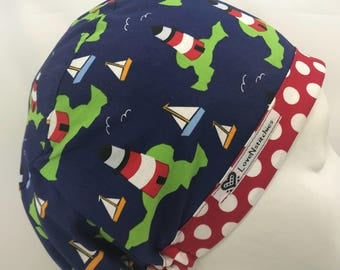 Cape Cod Lighthouses Scrub Hats for Women Euro European Style Surgery OR Tech Nurse Surgical Cap LoveNstitchies Nautical Ships Navy Blue Red
