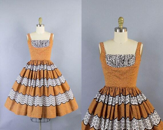 1950s Novelty Shelf Bust Dress/ Extra Small (32b/23w)