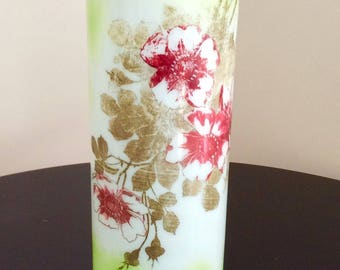 Vintage Vase Hand Blown Glass Large Vase Hand Painted Old