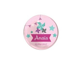 Badge invited christening or birthday mill to wind