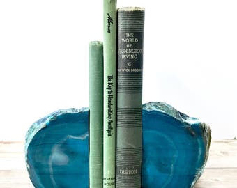 Agate Bookends - Teal Stone Book Ends Geode Crystal Decor