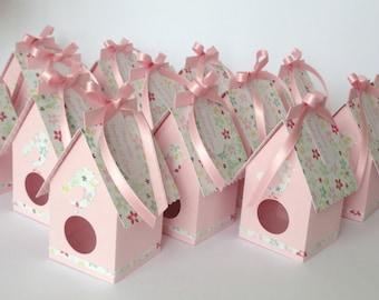 Box dragees birdcage / pink flowers baptism, wedding, communion box handmade