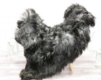 Icelandic Sheepskin | Real Sheepskin Rug | Gray Black Sheepskin Rug | Fur Rug | #islsept12