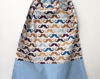 Canteen, school, birthday * napkin, bib, canteen, with elastic at the neck, cotton, vintage mustache, in stock