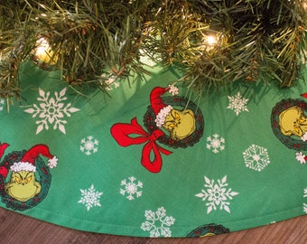 Christmas Tree Skirt-Grinch-Tree Skirt-Holiday Decor-Christmas Decor-Red Tree Skirt-Grinch Tree Skirt-42""