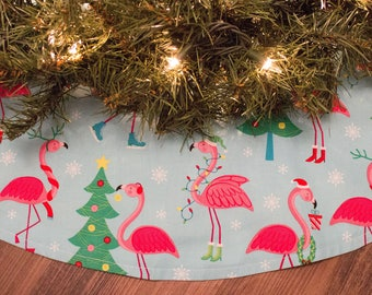 Christmas Tree Skirt-Holiday Decor-Flamingo-Christmas Tree-Coastal Christmas-Beach Decor-Coastal Decor-Tree Skirt-50""