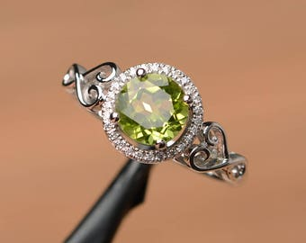 natural peridot ring engagement wedding ring round cut ring silver ring August birthstone green gemstone ring