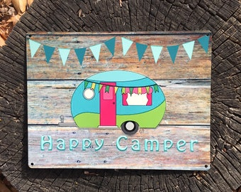 Happy Camper 9x12 Reclaimed Metal Sign, Vintage Camper, Glamper with banner Sign