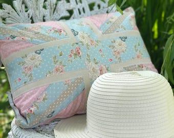 Pretty Pinks Vintage Floral British Union Jack Summer Cushion Pillow
