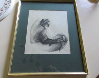 ORIGINAL CHARCOAL DRAWING Signed T. Hillsman 75