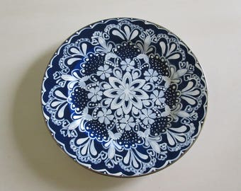 HAND PAINTED BLUE and White Plate Wall Hanging