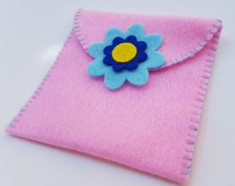 Pink felt coin purse, felt purse, felt flower coin purse, felt flower purse, pink flower coin purse, pink felt purse, coin purse, purse