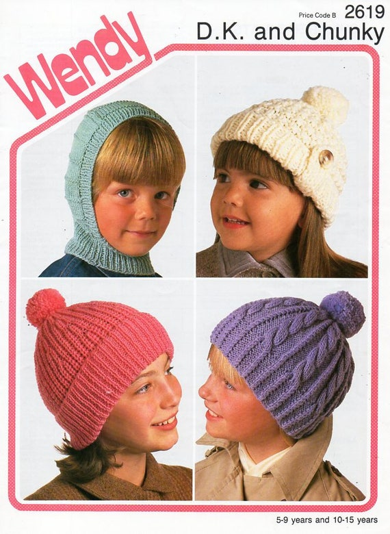 Childrens Hats Knitting Pattern Pdf Dk Chunky Childs Caps
