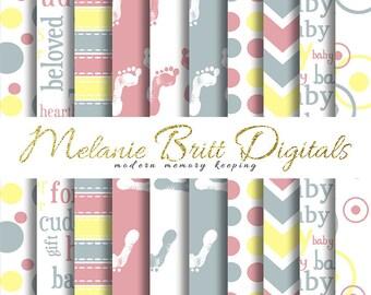 BABY digital paper, newborn baby, newborn footprints, baby blue, baby pink, baby yellow, printable pdf, INSTANT DOWNLOAD