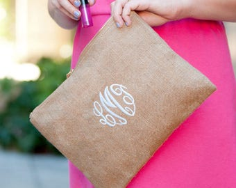 Burlap Zip pouch Monogrammed, Makeup Bag, Embroidered Clutch, Personalized Cosmetic Bag, Make up Organizer, Bridesmaids Gifts for Her