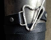 Leather Wrap Bracelet with Hand-Forged Sterling Silver Toggle Clasp (item 102)