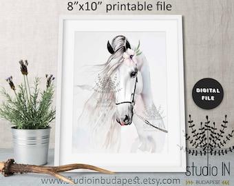 Horse print, printable wall art, white horse print, instant download horse printable art, modern horse art, horse print for girls