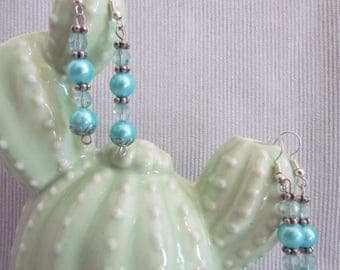 Rustic Bead Earrings with Metal Pendant
