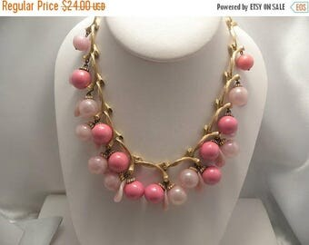 20% Off Sale Vintage Pink Beaded Cluster Necklace In Gold Tone Bamboo