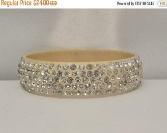 20% Off Sale Vintage Yellow Celluloid & Rhinestone Bracelet
