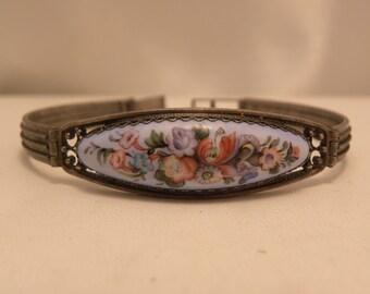 Vintage Painted Porcelain Silver Bracelet