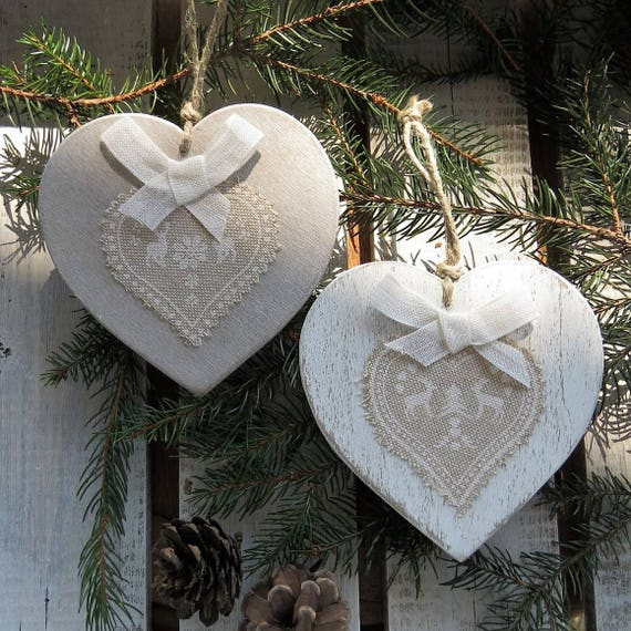 Cuori in legno shabby decorazioni natalizie da appendere - Decorazioni natalizie in legno ...