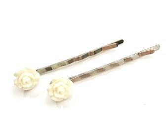 White Rose Bobby Pins