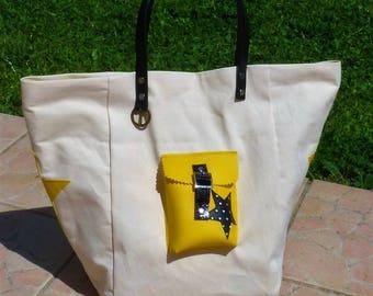 tote bag beige/yellow/black polka dots Pocket star black leather handles leather
