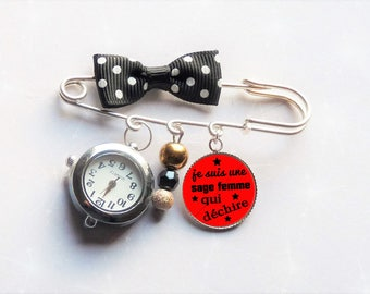 Nurse gift wise woman who torn red/black bow watch pin
