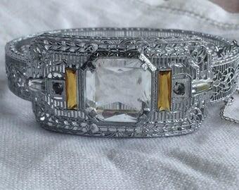 Art Deco J.H Peckham Rhodium Filigree  Bracelet Large Rhinestone
