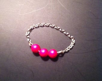 Ring 925 sterling silver chain and small Swarovski neon pink