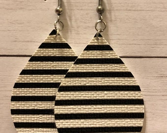 Black white and silver teardrop