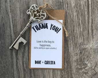 Key bottle opener wedding favors - guest favors - personalized favors