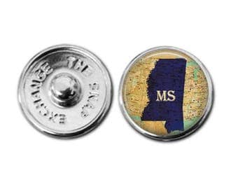 Mississippi charm, Mississippi map charm, snap button jewelry, button snap jewelry, button jewelry, snap charm jewelry, snap jewelry