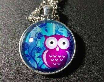Owl purple blue necklace #922