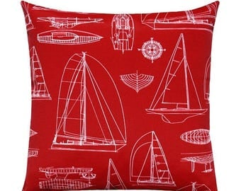 SALE Nautical Outdoor/Indoor Pillow Cover, Sailing Red Nautical Throw Pillow Cover, Red and White Pillow, Red Cushion Cover, Boats Pillow Co